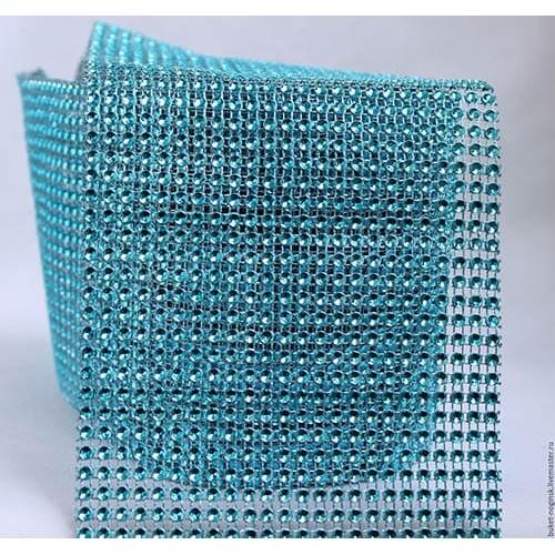 Лента с имитацией камней голубая, 1 м