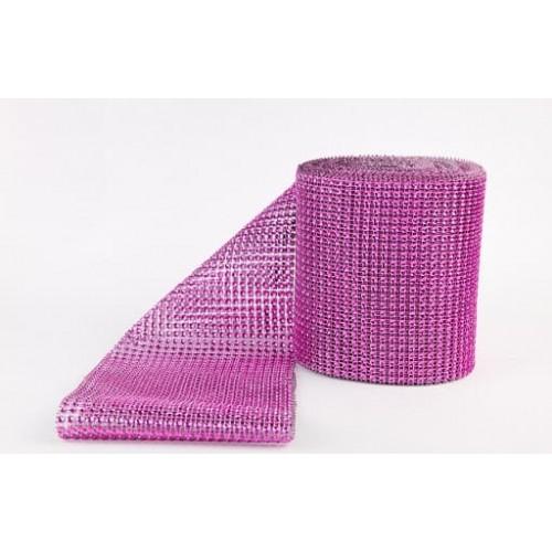 Лента с имитацией камней розовая, 1 м