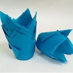 """Бумажные формы """"Тюльпан"""" голубые 25 шт"""