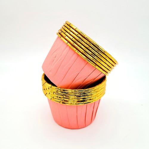 Бумажные формы розово-золотые с усиленным бортиком 6 шт (5х4 см)
