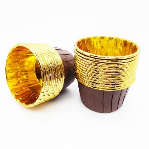 Бумажные формы коричнево-золотые с усиленным бортиком 6 шт (5х4 см)