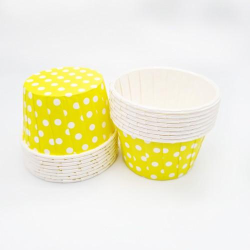 Бумажные формы жёлтые в горошек с усиленным бортиком 12 шт (5х4 см)