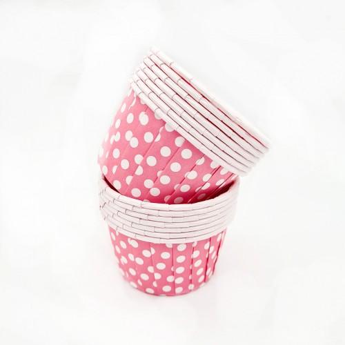 Бумажные формы розовые в горошек с усиленным бортиком 12 шт (5х4 см)