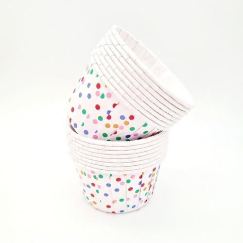 Бумажные формы в цветной горошек с усиленным бортиком 12 шт (5х4 см)