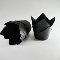 """Бумажные формы """"Тюльпан"""" черные 25 шт."""