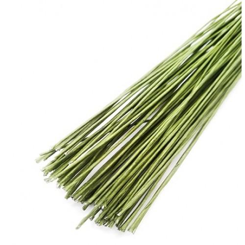 Проволока флористическая зеленая в бумаге 0,7мм 40 см (50 шт)