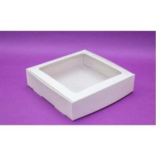Коробка для макаронс 20*20*5 см с окошком