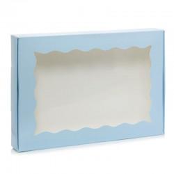 Коробка 22*15*3 голубая с окошком