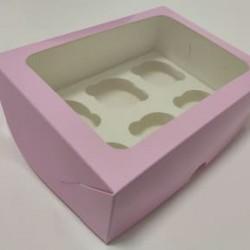 Коробка для 6 капкейков розовая