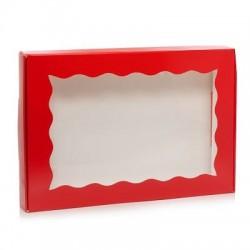Коробка 22*15*3 см красная с окошком
