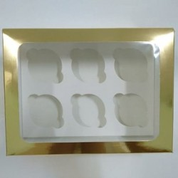 Коробка для 6 капкейков золотая с окошком