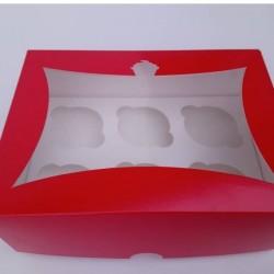 Коробка для 6 капкейков красная с окошком