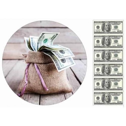 """Съедобная картинка """"Мешок с деньгами"""""""